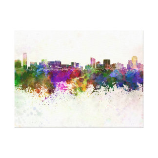 Grand Rapids skyline in watercolor background Canvas Print