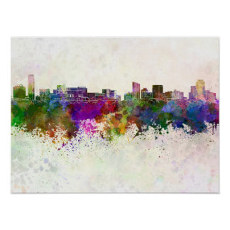Grand Rapids skyline in watercolor background Poster