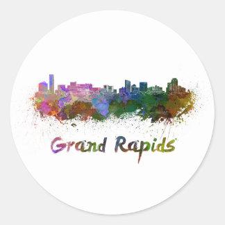 Grand Rapids skyline in watercolor Classic Round Sticker