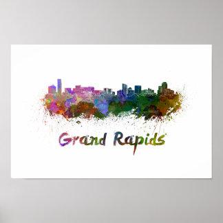 Grand Rapids skyline in watercolor Poster