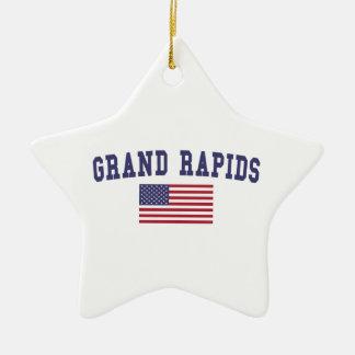 Grand Rapids US Flag Ceramic Ornament