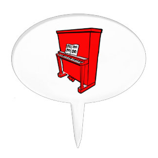grand red upright piano with music.png cake topper