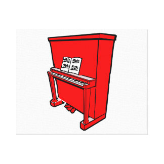 grand red upright piano with music.png canvas print