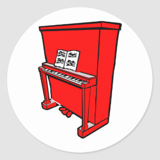 grand red upright piano with music.png classic round sticker