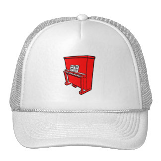 grand red upright piano with music.png trucker hat