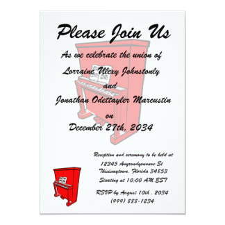 grand red upright piano with music.png 5x7 paper invitation card