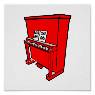 grand red upright piano with music.png poster