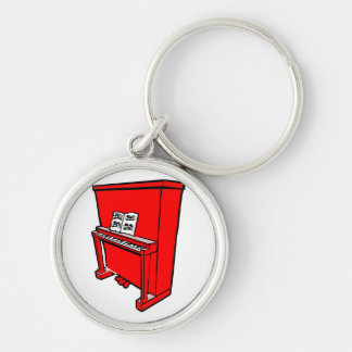 grand red upright piano with music.png Silver-Colored round keychain