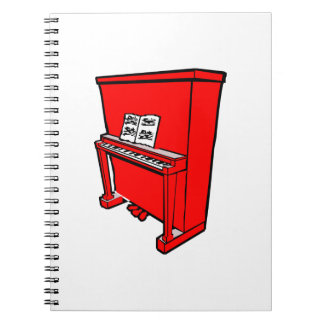 grand red upright piano with music.png spiral notebook