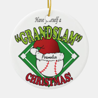 Grand Slam Baseball Christmas Ceramic Ornament