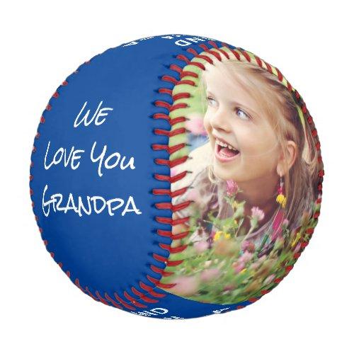 Grand Slam Grandpa Personalized Photos Names Blue Baseball