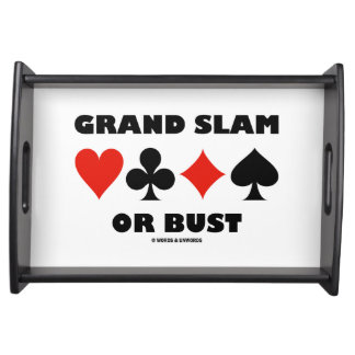 Grand Slam Or Bust Bridge Four Card Suits Serving Tray