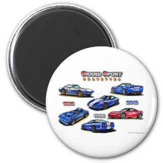 Grand Sport Corvettes 1963, 1996, 2010 2 Inch Round Magnet