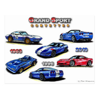 Grand Sport Corvettes 1963, 1996, 2010 Postcard