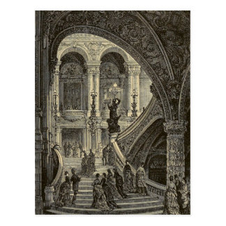 Grand stair case Paris Opera House 1877 Postcard