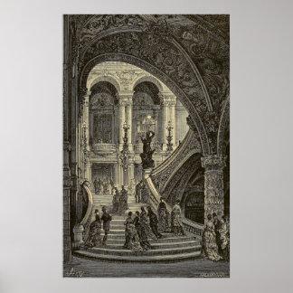 Grand stair case Paris Opera House 1877 Print