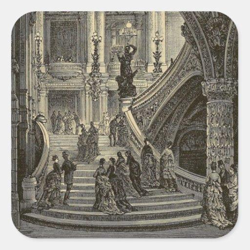 Grand stair case Paris Opera House 1877 Square Sticker