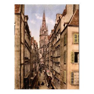 Grand Street, St. Malo, France vintage Photochrom Postcard
