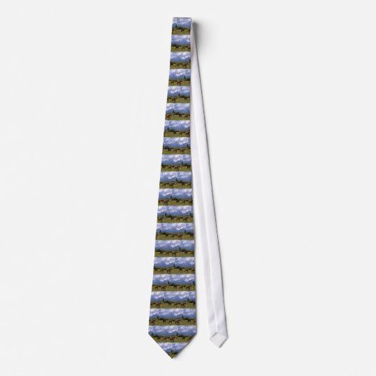 Grand Teoton horses grazzing in the grass, on a  Tie