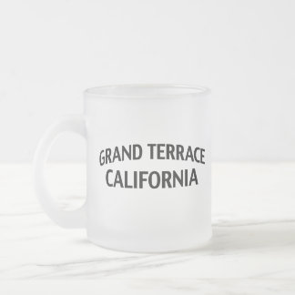 Grand Terrace California 10 Oz Frosted Glass Coffee Mug