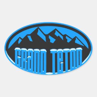 Grand Tetion National Park Snowcapped Oval Sticker