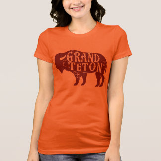 Grand Teton Buffalo Maroon T-Shirt