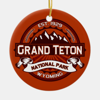 Grand Teton Crimson Double-Sided Ceramic Round Christmas Ornament