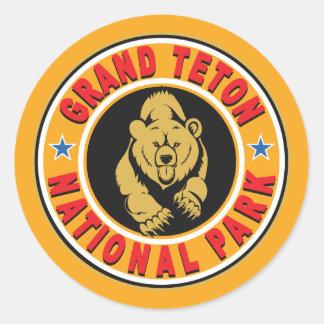 Grand Teton Gold Circle Classic Round Sticker