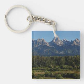 Grand Teton In Utah Double-Sided Square Acrylic Keychain