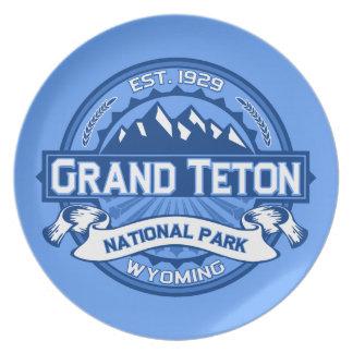 Grand Teton Logo Cobalt Dinner Plates