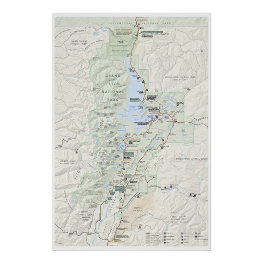 Grand Teton map poster | Zazzle.com