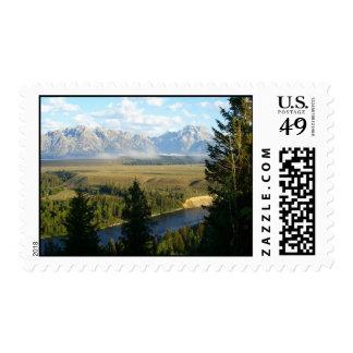 Grand Teton Mountains and River Stamp