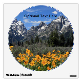 Grand Teton Mountains with Yellow Flowers Wall Decal