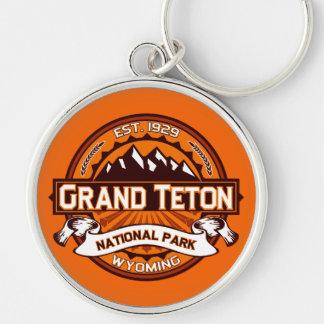 Grand Teton National Park Logo Silver-Colored Round Keychain