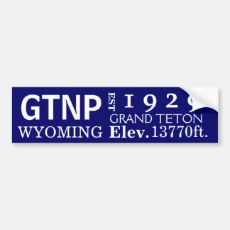 Grand Teton national park stats Bumper Sticker