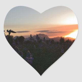 Grand Teton National Park Sunset Heart Sticker