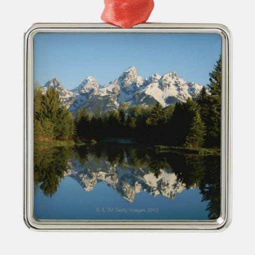 Grand Teton National Park, Teton Range, Wyoming, Square Metal Christmas Ornament