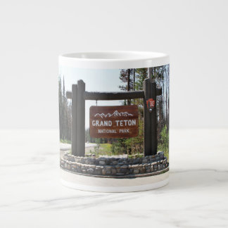Grand Teton National Park, US National Park, Sign Giant Coffee Mug