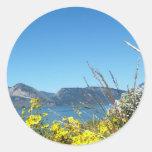 Grand Teton National Park wild flowers and lake. Round Sticker