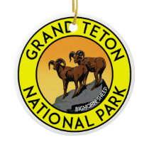Grand Teton National Park Wyoming Bighorn Sheep Ceramic Ornament