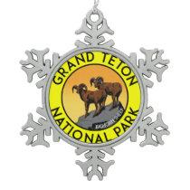 Grand Teton National Park Wyoming Bighorn Sheep Snowflake Pewter Christmas Ornament