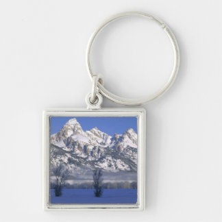 GRAND TETON NATIONAL PARK, WYOMING. USA. Fog & Silver-Colored Square Keychain