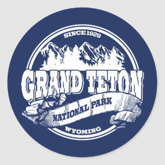 Grand Teton Old Circle Blue Classic Round Sticker