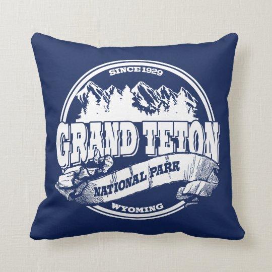 Grand Teton Old Circle Blue Throw Pillow
