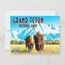 Grand Teton Park Wyoming Vintage Flat Card