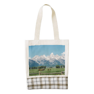 Grand Teton Range With Horses Zazzle HEART Tote Bag