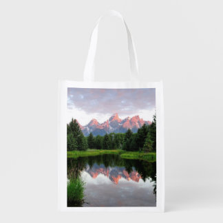 Grand Teton Reflections Over the Beaver Pond Reusable Grocery Bags