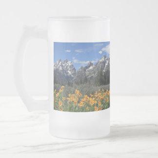 Grand Teton Springtime Souvenir Photo Glass Beer Mugs