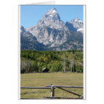 grand teton with fence greeting card