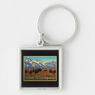 Grand Teton Wyoming Buffalo Silver-Colored Square Keychain